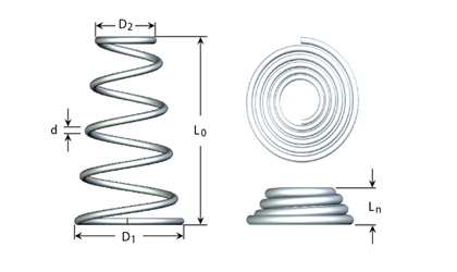 Technical drawing - Conical compression springs