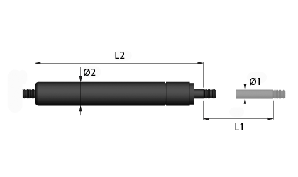 Technical drawing - TGF gas springs